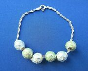 Sterling Silver Charm Bracelet Chain With Enamelled Bead Charms