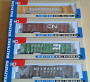 Ho Scale Walthers 3 Woodchip Gondolas Cn Bn Milw And 72' Centerbeam Flat Car Ttx