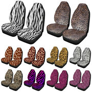 2x Universal Car Seat Cover Front Stretchy Auto Carseat Protector Leopard Print