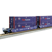 New Kato Gunderson Maxi-iv 3pk Well Car W/containers N Scale Free Us Ship