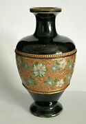Royal Doulton Stoneware Pottery Black With Gold Gilt And Enamel Flowers