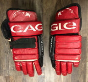 Hockey Gloves Eagle Freeflow Cp92 Vintage Rare Leather Made In Canada