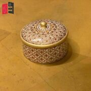 Wooden Hand Carved Golden Embossed Painted Round Box Made To Order