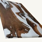 White Resin Epoxy Table Acacia Wooden Furniture Dining Table Top Made To Order