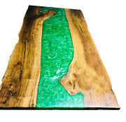 Green Resin River Epoxy Table Walnut Wooden Furniture Din Top Deco Made To Order
