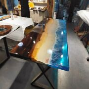 Epoxy Table Dininig Table Top Handmade Conference Table Iron Stand Made To Order