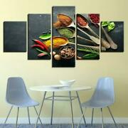 Chili Spice Spoons Kitchen 5 Panel Canvas Print Wall Art Poster Home Decor