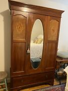 Stunning Antique Inlaid Mahogany English Linen Press/armoire With Oval Mirror
