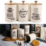3csp Retro Tea Coffee Sugar Canisters Kitchen Storage Jars Pots Tins Containers