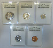 Gorgeous 1953 Anacs High Grade Proof Set, Pr65 To Pr67, Pf65 To Pf67 Old Holders