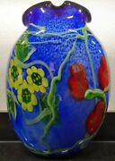 Unbelievable Sommerso Glass Art Vase With Yellow And Red Flowers And Green Vine