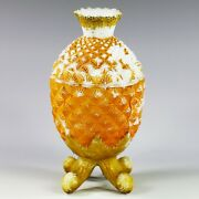 Antique French Vallerysthal Opaline Pineapple Ananas Box Lidded Sugar Bowl 1