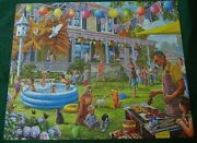 Backyard Bbq White Mountain 1000 Piece Puzzle Pool Grill July 4th Holiday