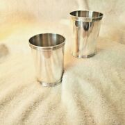 Pair Manchester Company Sterling Silver Banded Mint Julep Cups 3759