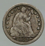 1853 O United States Us Silver Seated Liberty Old Silver Half Dime Coin I92792