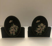 Antique Painted Metal Bookends With Hand Painted Pink Flowers