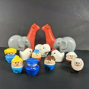 Vintage Fisher Price Little People And Elephant Giraffe Shepards Lamb Chicken Lot