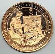 C6964 Franklin Mint Bronze Medal, Monroe Doctrine Sets Foreign Policy 1823