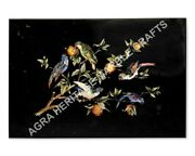 4and039x3and039 Black Marble Dining Hallway Table Top Marquetry Inlay Bird Design H4711a