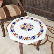 Marble Table Top Desk 16x16 Lapis Multi Stone Floral Art Housewarming Gift Her
