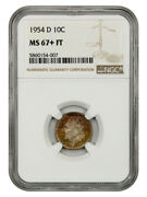 1954-d 10c Ngc Ms67+ Fb - Colorful Toning - Roosevelt Dime - Colorful Toning