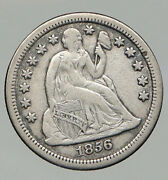 1856 United States Us Silver Seated Liberty Vintage Antique Old Dime Coin I92828
