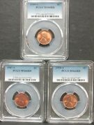 Lot Of 3 Pcgs Ms 66 Rd Lincoln Cents 1944-s 1947-s 1954-s Q3cf