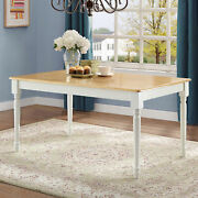 Better Homes And Gardens Autumn Lane Farmhouse Dining Table White And Natural