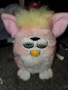 Furby Babies 1999 Pink Peach White And Yellow W/ Green Eyes Tiger Works