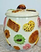 Vintage Japan Napco 1950and039s Cookies All Over Cookie Jar Canister Walnut Knob Lid