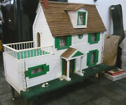 Large Antique Late Mid-century Handmade Wooden Doll House W/electric, Vintage