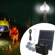 Solar Panel Power Charging Generator System With 4 Bulbs Outdoor Camping Travel
