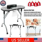 Manicure Table Portable Folding Nail Station Desk With Electric Downdraft Vent