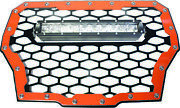Modquad Front Grill With 10 Light Bar Red Rzr-fgls-t-rd
