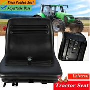 Universal Black Tractor Seat With Drain Hole Slidable Forklift Lawn Mower Seat