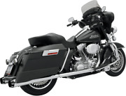 Bassani +p Stepped True Duals Exhaust System Chrome With Black End Caps 1f46r