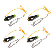 4pcs Outrigger Power Grip Snap Release Clip W/ Leader For Boat Fishing Black
