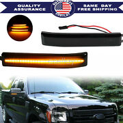 2x Mirror Led Side Lights Turn Signal Lamps Reflector Black For Ford F150 09-14
