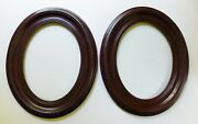 Pair Vintage Wood Gesso Oval Picture Frames Holds 11 3/4 X 8 3/4