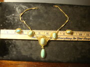 Vintage 14k Gold And Turquoise Necklace And Earring Set 33.1 Gr And 20.8 Gr Net Slabz