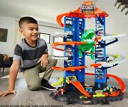 New Hot Wheels City Ultimate Garage Playset 2 Toy Cars And Robo-dinosaur Kids Toys