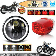 5.75 Led Headlight Dual Color Halo Drl+tail Light For Dyna Low Rider Sportster