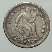 1853 P United States Us Silver Seated Liberty Old Silver Half Dime Coin I93018