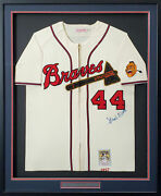 Braves Hank Aaron Autographed Framed Mitchell And Ness Jersey Beckett Aa01307