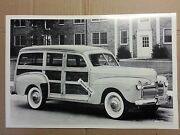 12 By 18 Black And White Picture 1942 Ford Station Wagon Woody Michigan Plates