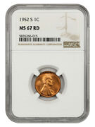 1952-s 1c Ngc Ms67 Rd - Lincoln Cent