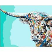 Bull Animal Painting By Numbers Linen Canvas Picture Wall Art Garden Home Decors