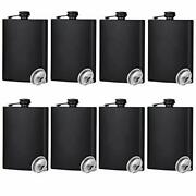 Hip Flask For Liquor Matte Black Stainless Steel Leakproof With 8 Pcs 8 Oz