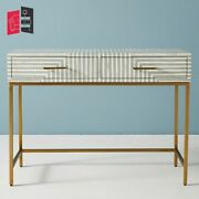 Handmade Bone Inlay Stripe Design 2 Drawers Console Table Grey Made To Order
