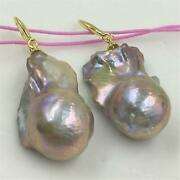 Natural Huge Purple Baroque Pearl Earrings 108 Buddha Beads Thanksgiving Day
